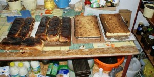 Cakes queuing up to be eaten