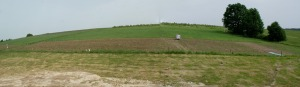 A badly stitched photo of the top field, potatoes on the right